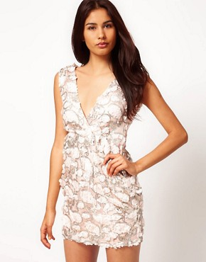 Image 1 ofRare Paisley Sequin Wrap Dress