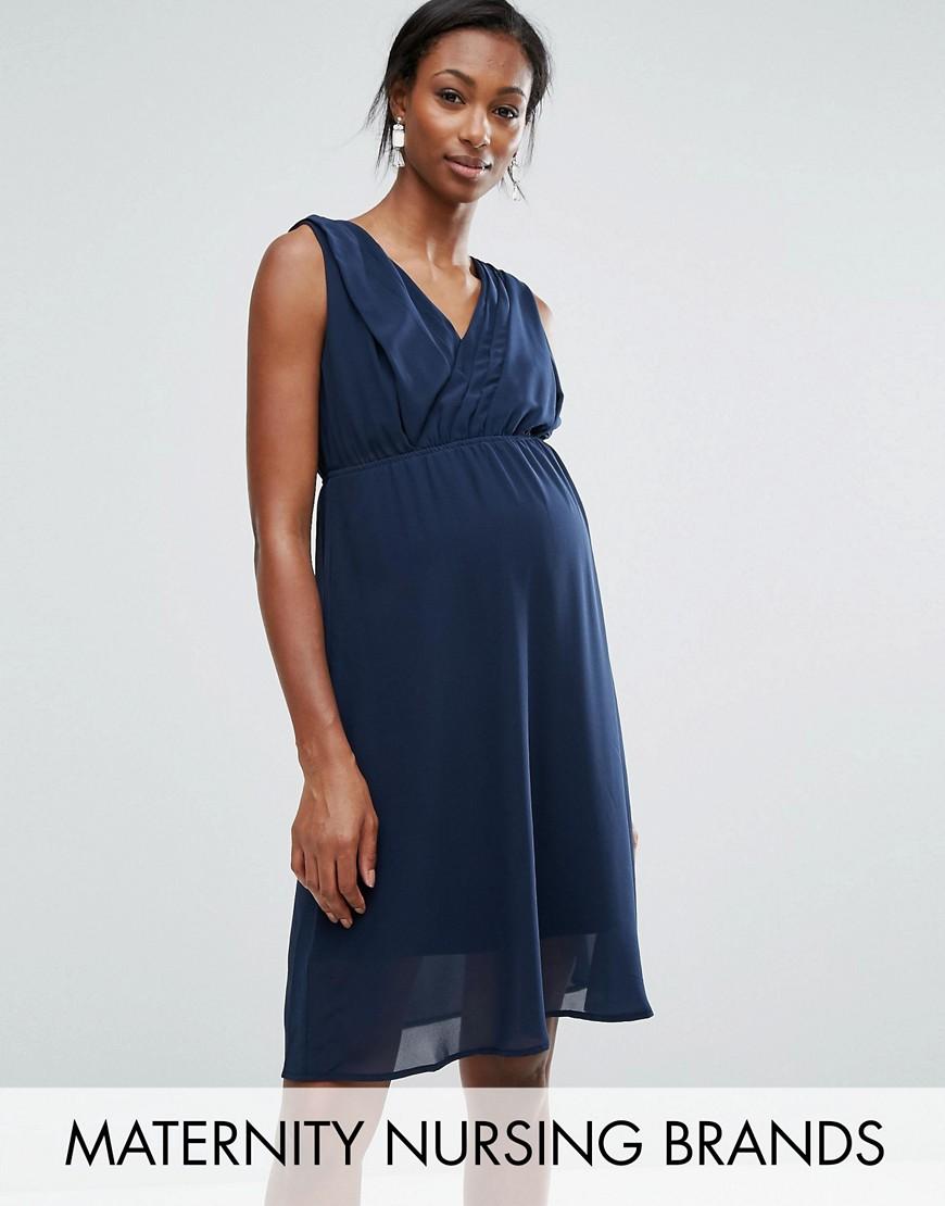 Короткое приталенное платье для кормления без рукавов Mamalicious