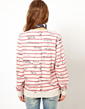 Image 2 ofMaison Scotch Sweatshirt in Striped Graffiti Print with Bandana
