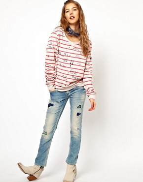 Image 4 ofMaison Scotch Sweatshirt in Striped Graffiti Print with Bandana