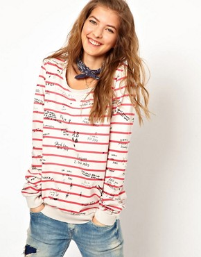 Image 1 ofMaison Scotch Sweatshirt in Striped Graffiti Print with Bandana