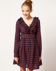 Pepe Check Ruffle Front Dress