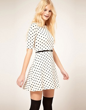 Image 1 of ASOS Skater Dress In Spot Print With Belt