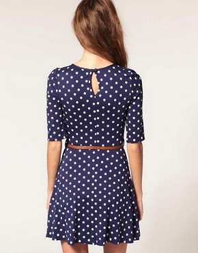 Image 2 of ASOS Skater Dress In Spot Print With Belt