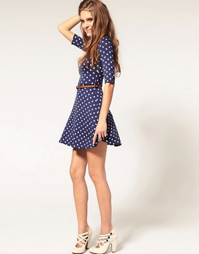 Image 4 of ASOS Skater Dress In Spot Print With Belt