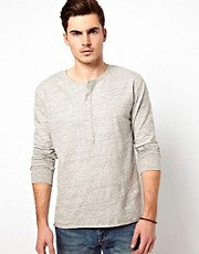 Denim Demon Long Sleeve Top Henley Neck Raw Hem Heather