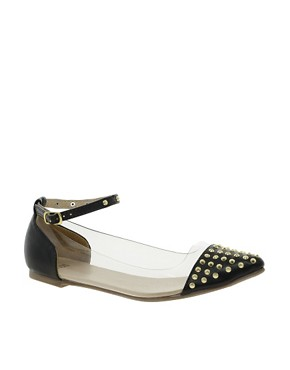 Image 1 ofASOS LEAD Studded Pointed Ballet Flats