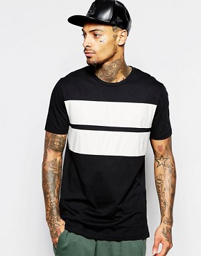 ASOS Longline T-Shirt With Crocodile Print Leather Look Panels In Relaxed Fit