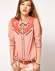 Maison Scotch Pretty Western Shirt with Embroidery