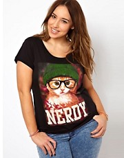 New Look Inspire - T-shirt con gatto secchione