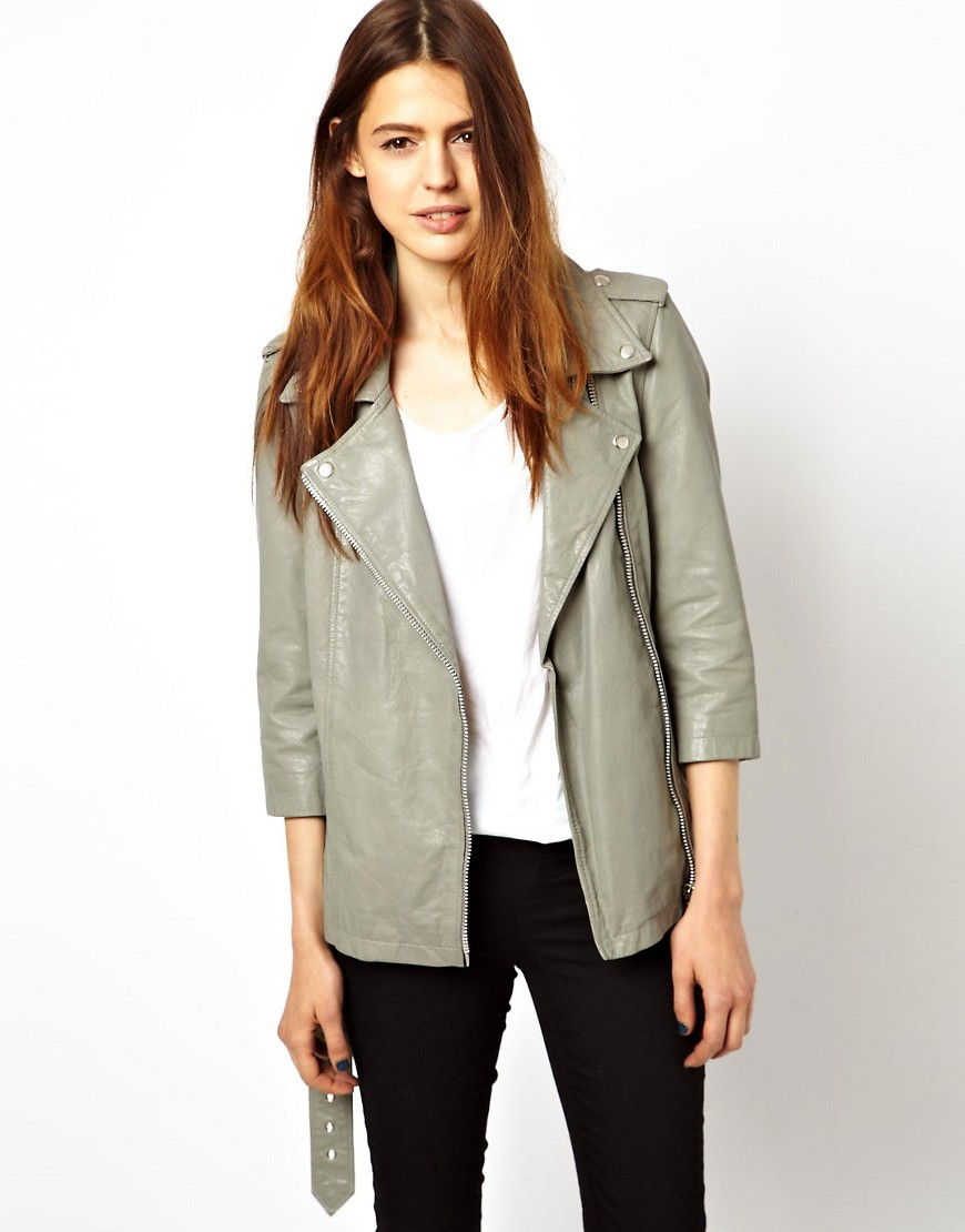 HIDE Josepha Long Line Biker Jacket with 3/5 Sleeves in LEather - Grey