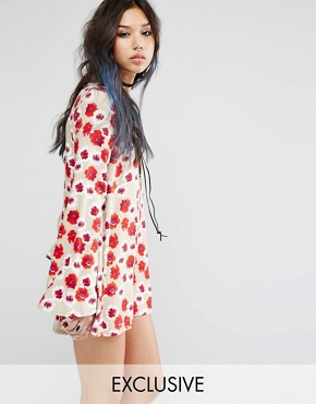 Milk It Vintage Smock Dress With Tie Neck Detail In Floral Print