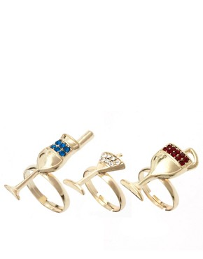 Image 1 ofASOS Adjustable Cocktail Multifinger Rings