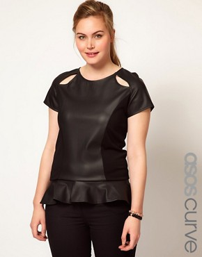 Image 1 ofASOS CURVE Exclusive Peplum Top In PU And Jersey