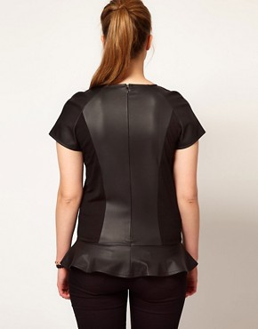 Image 2 ofASOS CURVE Exclusive Peplum Top In PU And Jersey