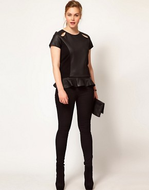 Image 4 ofASOS CURVE Exclusive Peplum Top In PU And Jersey