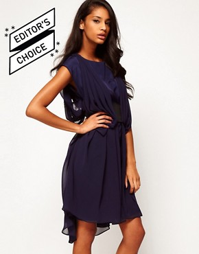 Image 1 ofASOS Chiffon Dress With Wide Belt And Drape Side