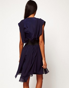 Image 2 ofASOS Chiffon Dress With Wide Belt And Drape Side