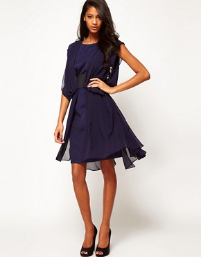 Image 4 ofASOS Chiffon Dress With Wide Belt And Drape Side