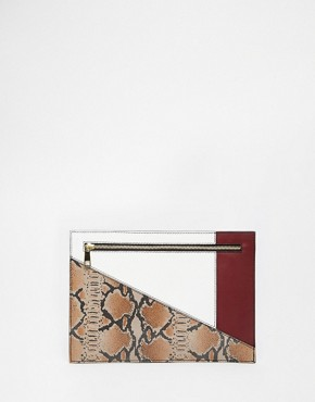 ASOS Colour Block Snake Clutch Bag