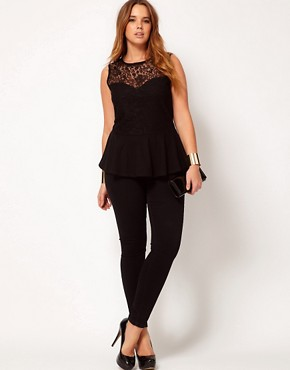 Image 4 ofASOS CURVE Exclusive Top With Lace Bodice Peplum