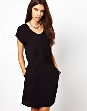 Image 1 ofBy Zoe Short Sleeved Shift Dress with Pleated Front