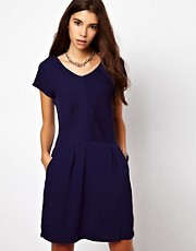 By Zoe Short Sleeved Shift Dress with Pleated Front