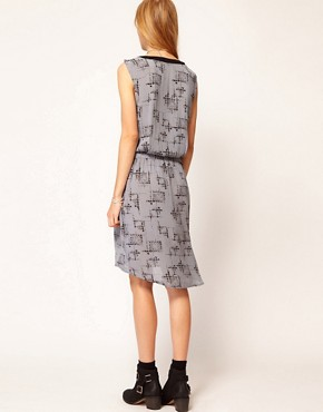 Image 2 of Selected Graphic Sleeveless Dress with Zip Detail