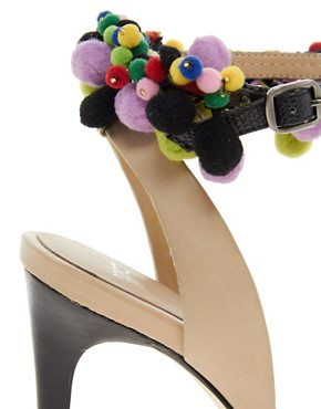 Image 2 ofASOS HIPPIE SHAKE Leather Sandals With T-Bar Pom Pom Detail