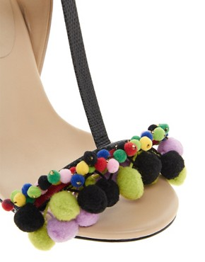 Image 3 ofASOS HIPPIE SHAKE Leather Sandals With T-Bar Pom Pom Detail
