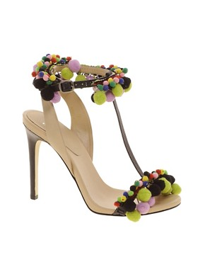 Image 1 ofASOS HIPPIE SHAKE Leather Sandals With T-Bar Pom Pom Detail