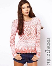 ASOS PETITE Jumper in Vintage Pattern with Fringing