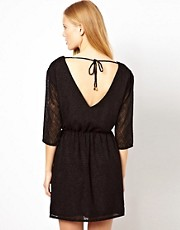 Selected Textured Dress with Low Back