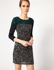 French Connection Colour Block Sequin Dress