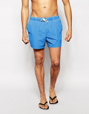 ASOS Swim Shorts With Neon Acid Wash In Short Length