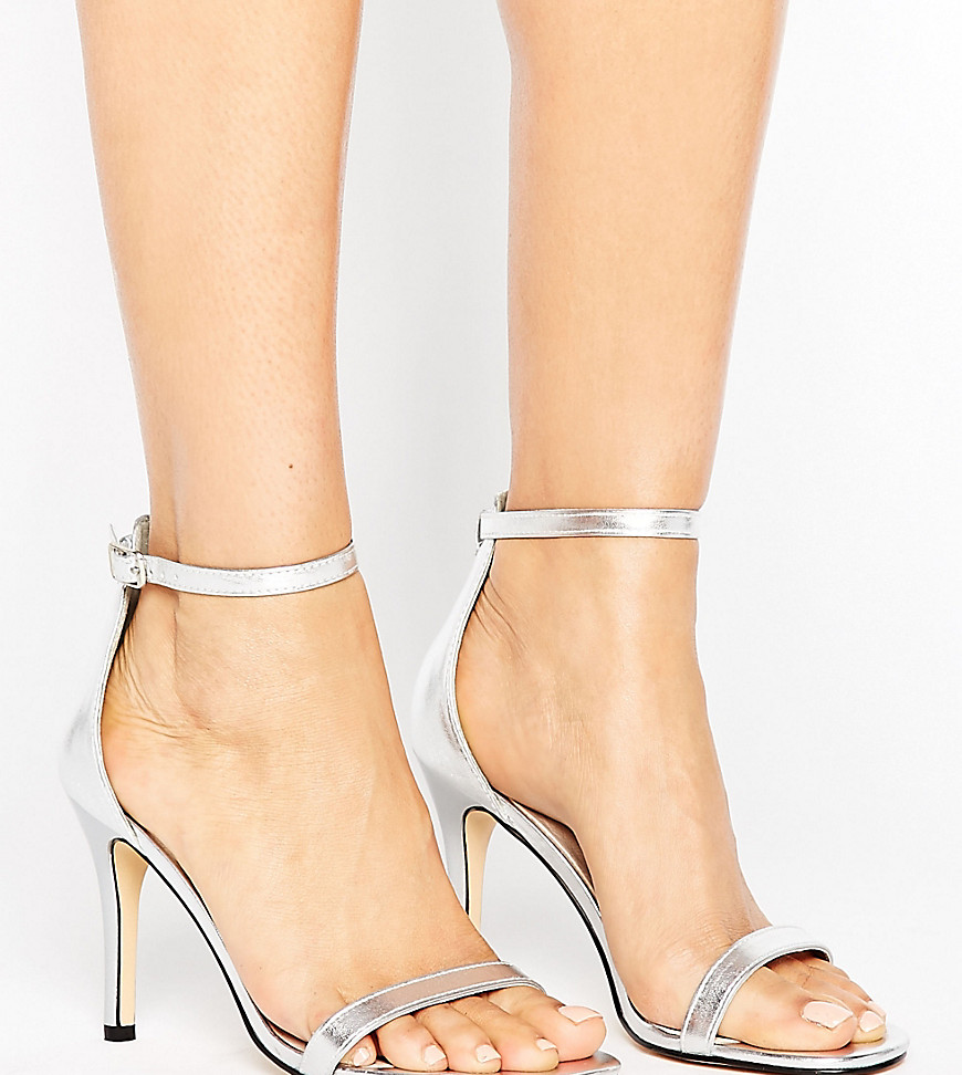 Lost Ink Wide Fit Jess Silver Barely There Heeled Sandals - Silver