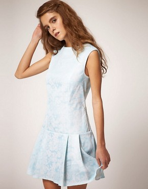 Image 1 ofASOS Sleeveless Shift Dress in Jacquard