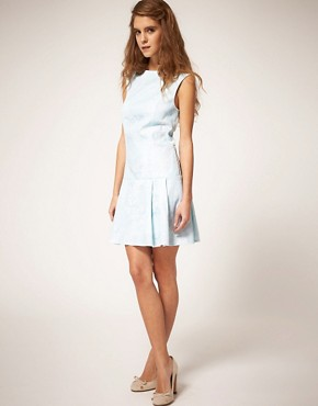 Image 4 ofASOS Sleeveless Shift Dress in Jacquard
