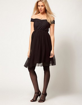 Image 4 ofASOS Maternity Lace &amp; Mesh Skater Dress