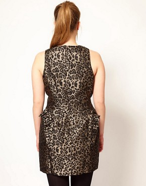 Image 2 ofASOS CURVE Exclusive Ruffle Peplum Dress In Leopard