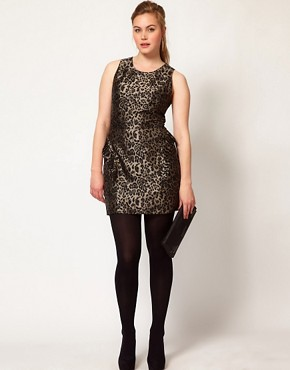 Image 4 ofASOS CURVE Exclusive Ruffle Peplum Dress In Leopard