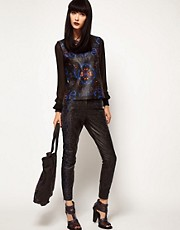 ASOS BLACK By Markus Lupfer Leather Trousers In Print
