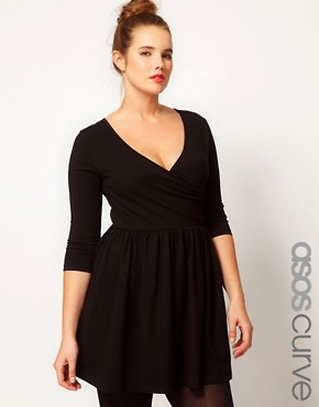 Image 1 ofASOS CURVE Skater Dress With Ballet Wrap