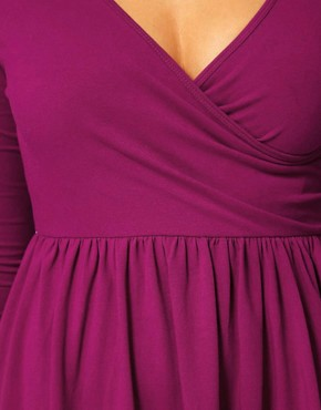 Image 3 ofASOS CURVE Skater Dress With Ballet Wrap