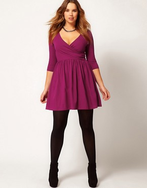 Image 4 ofASOS CURVE Skater Dress With Ballet Wrap