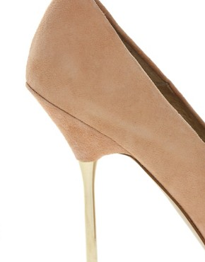 Image 2 ofASOS PAPARAZZI Leather Court Shoes With Metal Spike Heel