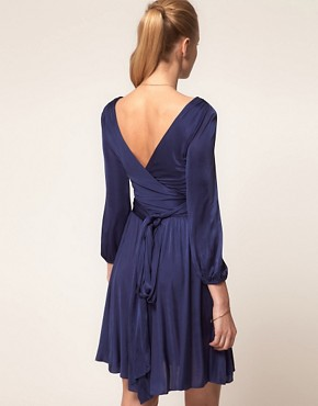Image 2 ofHalston Heritage Long Sleeved Wrap Dress