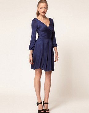 Image 4 ofHalston Heritage Long Sleeved Wrap Dress