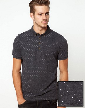 Image 1 ofASOS Polo With All Over Polka Dot
