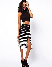 ASOS Ponte Pencil Skirt in Variegated Stripe